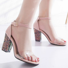Womens Summer Shoes Single Belt Transparent Street Style Sandals High Chunky Heel Ankle Strap Bling Party Plus Size 33 - 46