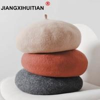 Berretto di lana Femminile di Inverno Cappelli Per Le Donne Berretto Piatto  Maglia 100% Cashmere 8b3dee8e9806
