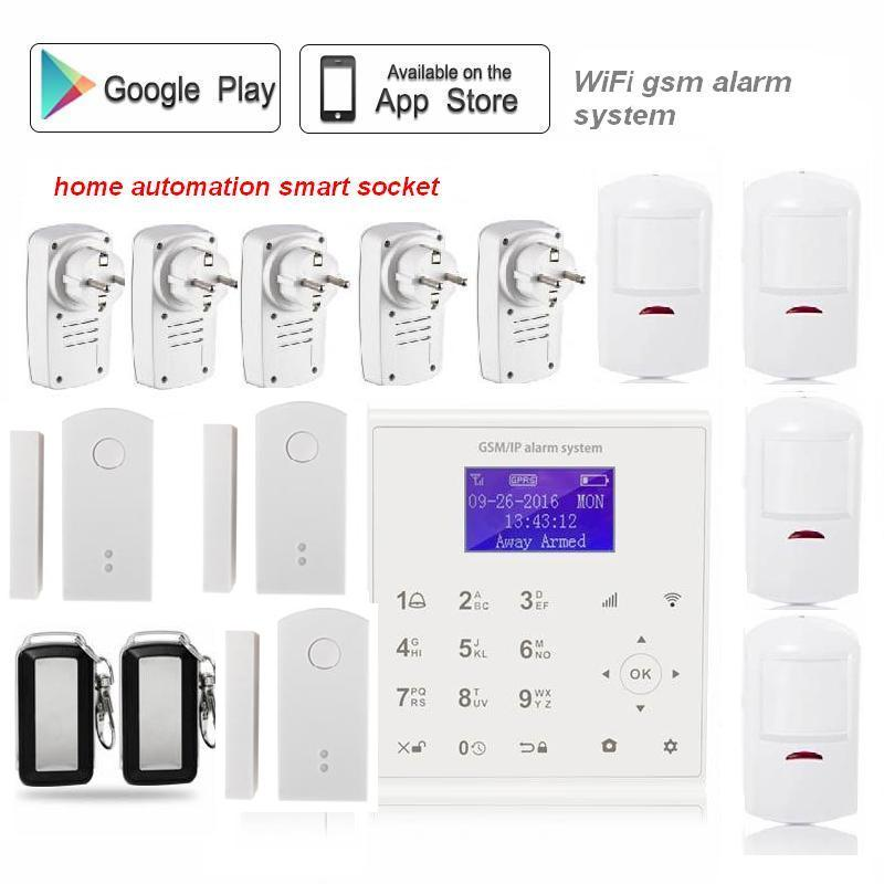 433mhz 2 4G Wireless wifi gsm alarm systems security home for home Spanish Dansk Polish menu