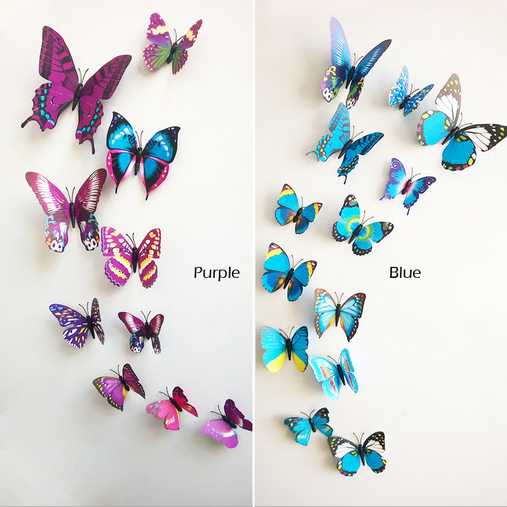 Sticker Art Design Decal Wall Stickers Home Decor Room Decorations 3D  Butterfly IB063(China (
