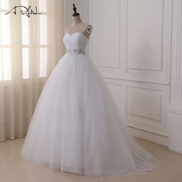 Stock Wedding Dresses Vestidos de novia Sweetheart Sweep Train Lace Applique Corset Wedding Dress Gowns