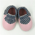 100% Genuine Leather First Walkers US Flag Baby moccasins shoes Fringe stripe boys red bottom sole Shoes Free shipping