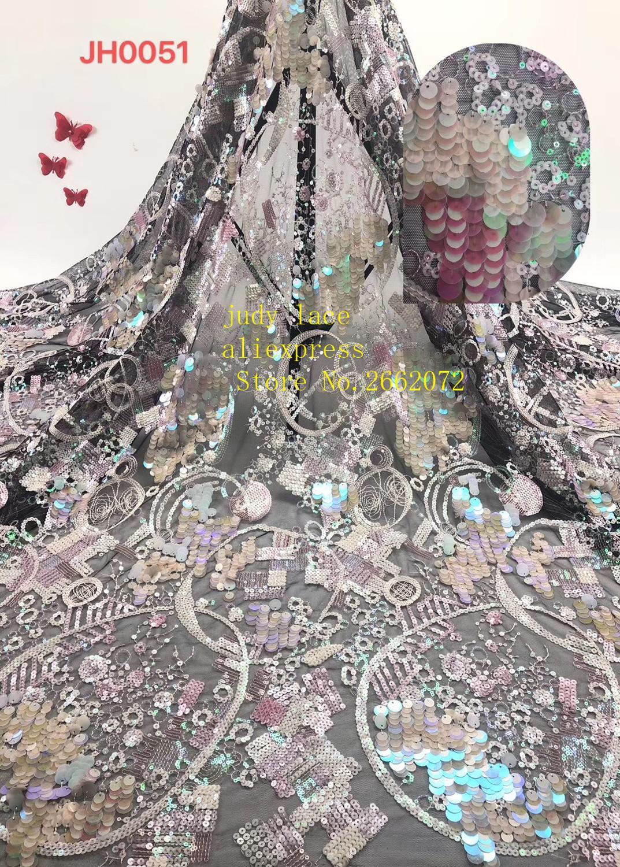 5 yards/sac couleur mélangée effet fluorescent sequin broderie style romantique français tissu pour robe de mariée mode RF78 #
