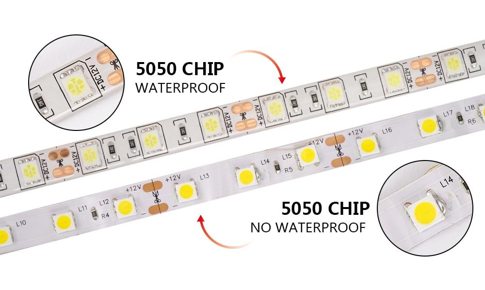 LUCKYLED 5M LED Strip 12v RGB Waterproof 5050 2835 SMD Diode RGB Tape Ribbon Flexible LED Light Strip 60leds/m LED Stripe