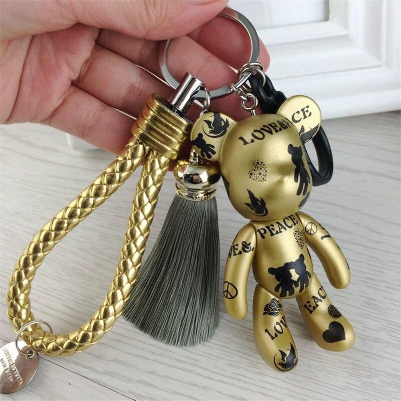 Fashion High Quality Leather Keychain Tassel Gloomy Bear Keyring Women Bag Charms Man Car Key Chains Trinket Jewelry Party Gift