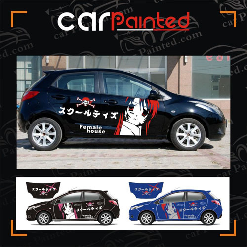 Free shipping cute japanese cartoon car the whole car stickers automobile garland car body protection