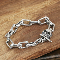 S925 Men S Fashion Wholesale Silver Jewelry Handmade Vintage Silver Long Skull Ring Personality Buckle Bracelet