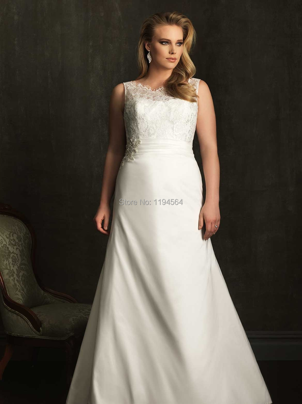 Online Get Cheap Plus Size Ivory Lace Wedding Dress A Line ...