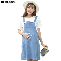 HI BLOOM Fashion Denim Maternity Strap Dresses for Pregnant Women Summer Loose Belly Supporting Pregnancy Clothes Overall