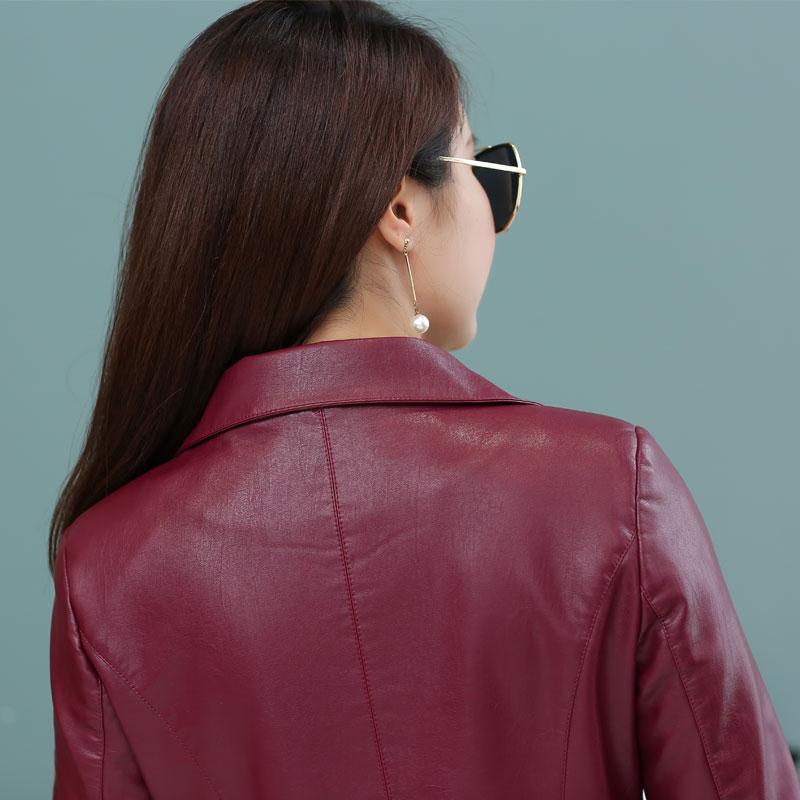 Veste Plus Nouvelle Pu Cuir Taille À Double 2018 wine Survêtement Dames La Vêtements Boutonnage 4xl rouge Noir Femmes Manteau Femelle Red Faux Long En Vestes npzTEw