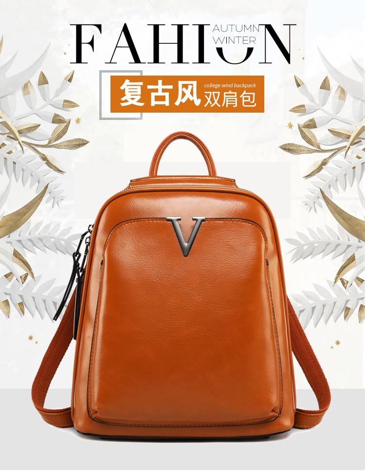 93dda2b888b3 Oil Wax Genuine Leather Women Backpack Cross Body Shoulder Bags ...