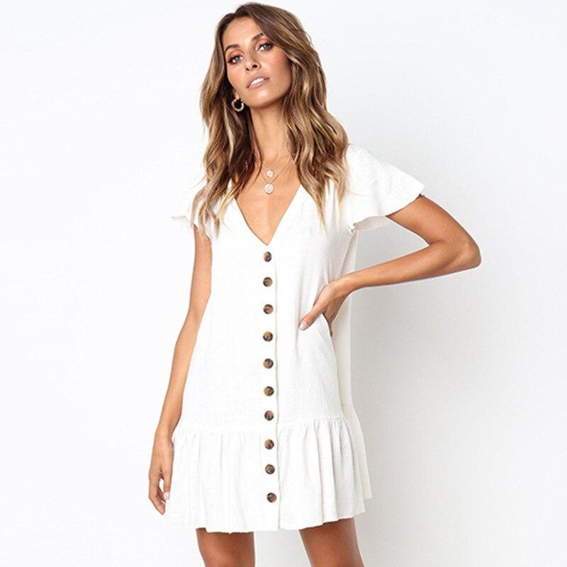 Solid Casual Mini Dress Sexy V-Neck Short Sleeve Ruffle Buttons Women 2018 New Summer Dresses Cotton White Dress Female Vestidos
