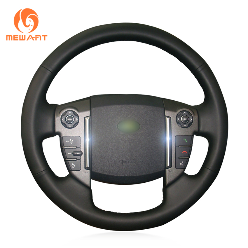 MEWANT Black Genuine Leather Car Steering Wheel Cover for Land Rover Discovery 4 2010 2016