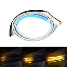 2pcs 45cm White Amber Flowing Car Daytime Running Lights Angle Eyes Strip LED DRL Light Headlight Styling