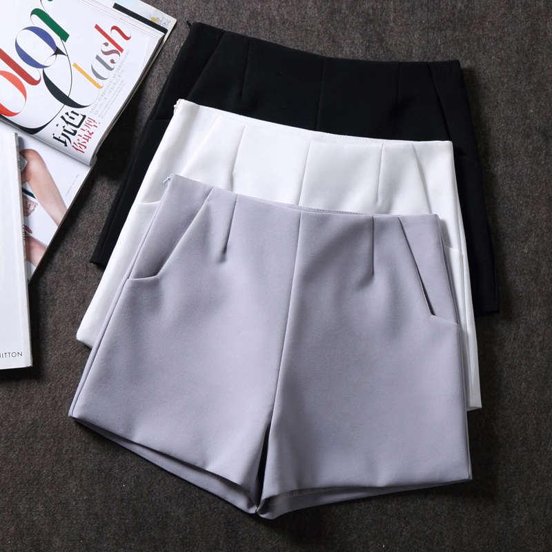 High Waist Chiffon Suit   Shorts   Women Summer White Black Wide Leg Women   Shorts   Ladies Office   Short   Femme Beach Hot   Shorts   C4278
