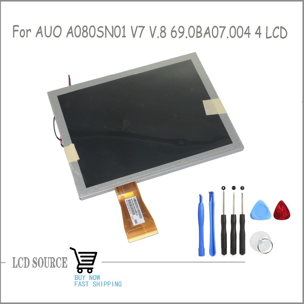 TFT 8 Inch 60pin A080SN01 V7 A080SN01 V8 For Tablet PC, GPS LCD Display Screen Thickness 3.45mm