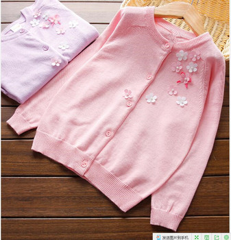 YGPHT-W17101 Baby Sweater Grils Cardigan 3D Flower Girls Sweater Full Sleeve Girls Clothes Lolita Pattern Sweater Baby Clothing
