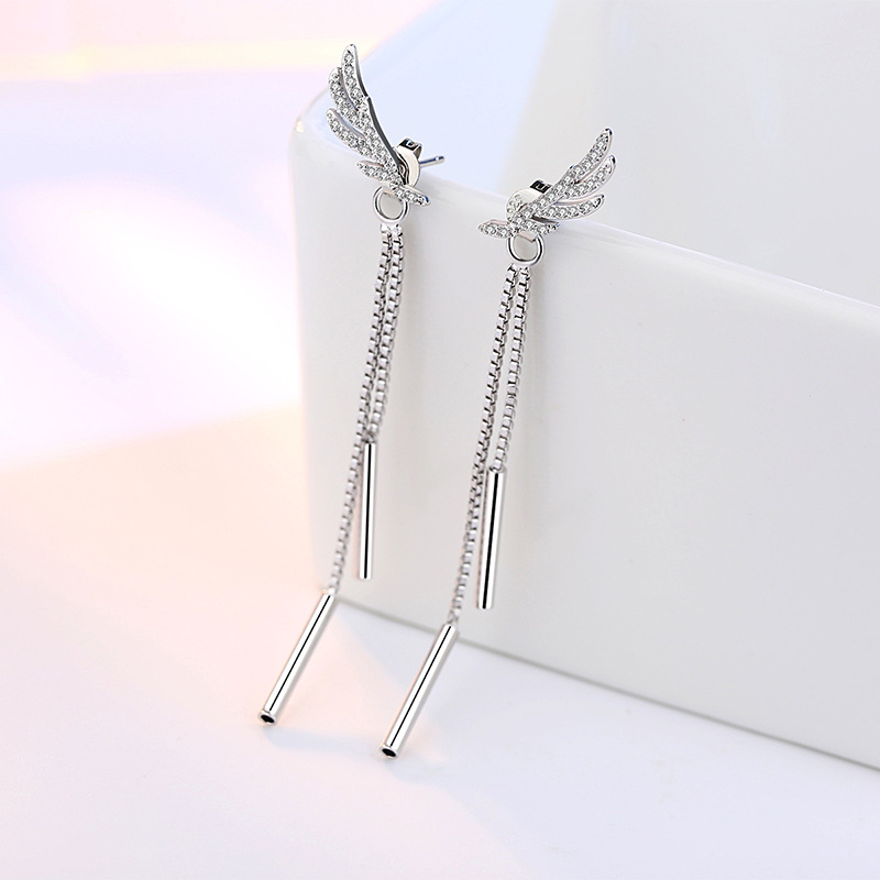 100 925 sterling silver fashion angel wings shiny crystal ladies stud earrings women jewelry new arrivals hot female gift in Stud Earrings from Jewelry Accessories