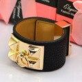 Hip Hop Female Rock Claps Women Leather Bracelet Bangle Men Wide Punk Rivet Luxury Brand bracelets & Bangles jewelry For Gift