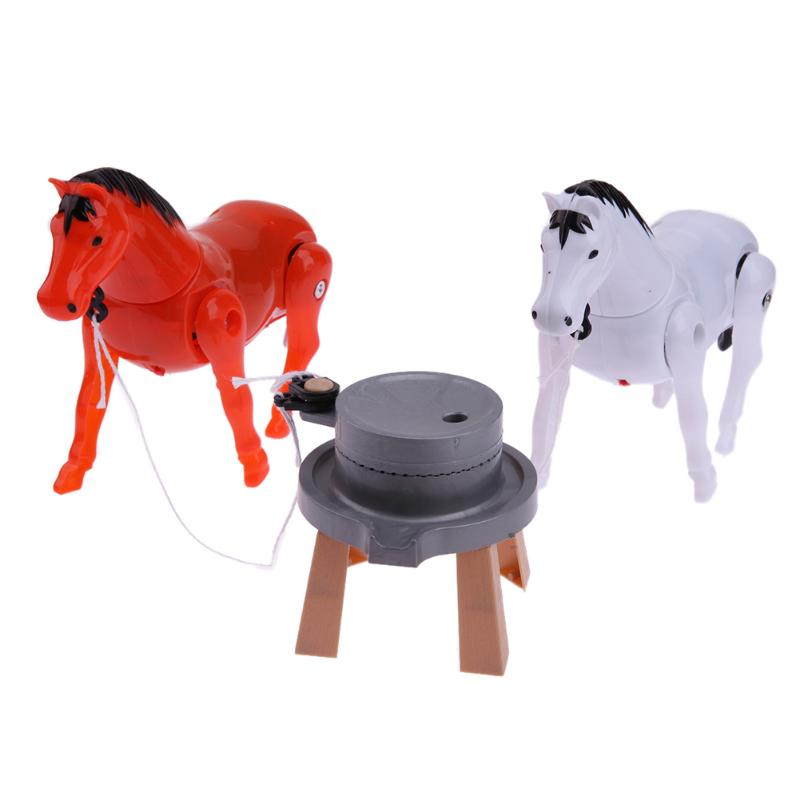 Plastic Electronic Horse Toys Pony Rotating Around Stone Mill Toy Kids Gifts Electronic Horse Toy Model