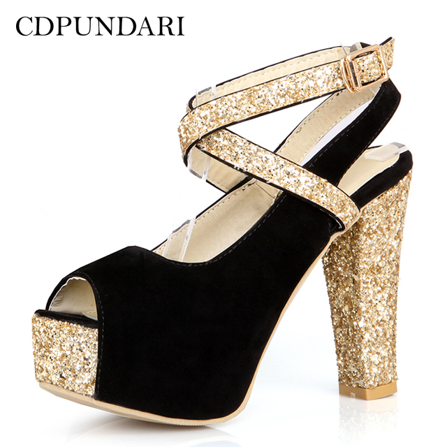 35484a04e92 Aliexpress.com : Buy CDPUNDARI Fashion Golden Super High heel Sandals Women  Platform sandals Ladies summer shoes woman clear heels from Reliable ...