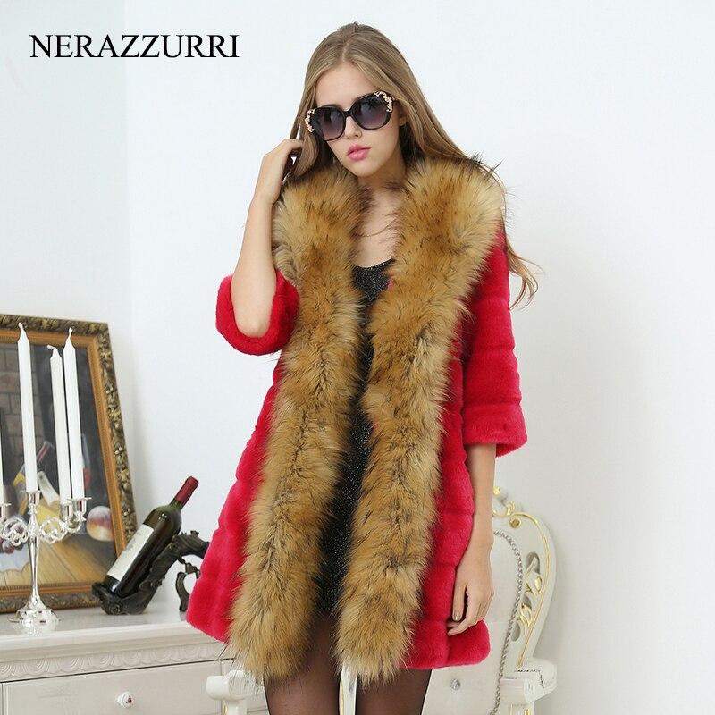 De Col Chaud Mince Nerazzurri 5xl Faux Lapin Viverrin Red Chien La Manteau Femelle Rayé Avec Fourrure Outwear Taille coffee Femmes Plus black Veste qqtP8