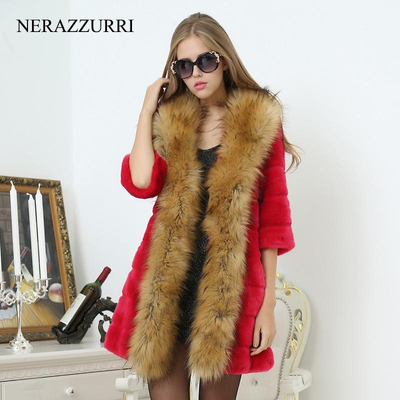 Nerazzurri Frauen Faux Pelzmantel Mit Waschbären Hund Pelzkragen - Damenbekleidung - Foto 3