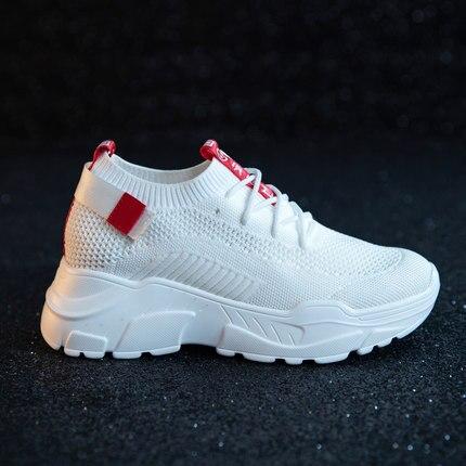 Verano blanco Zapatos Harajuku Coreana Los Mujer Respirables Y 2018 Salvaje Casual Tejidos De Ocasionales Viejos Versión Rojo Otoño Volando Nueva qtHrt