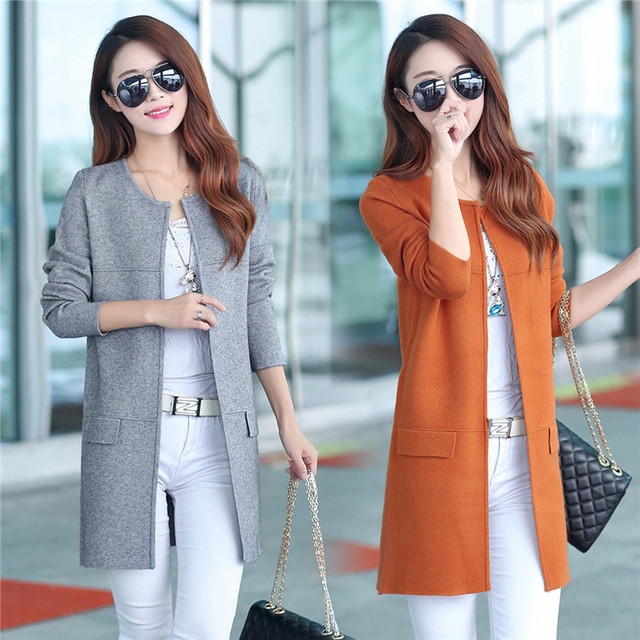 17809e42c2e22 New Winter Women Casual Long Sleeve Pocket Knitted Cardigans 2017 Autumn  Crochet Ladies Sweaters Fashion Tricotado Cardigan