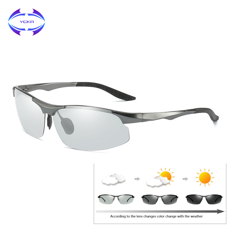 VCKA Aluminum magnesium Driving Photochromic Sunglasses Men Polarized Chameleon Sun glasses oculos de sol masculino