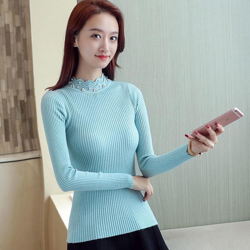 Vetement Femme 2017 Autumn Knitted Beading Shirt Women Turtleneck Womens Tops And Blouses Long Sleeve Korean
