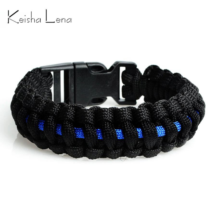 Keisha Lena Outdoor Travel Camping Thin Blue Line Black Braided Cobra Weave Plastic Buckle Paracord Survival Bracelet Police