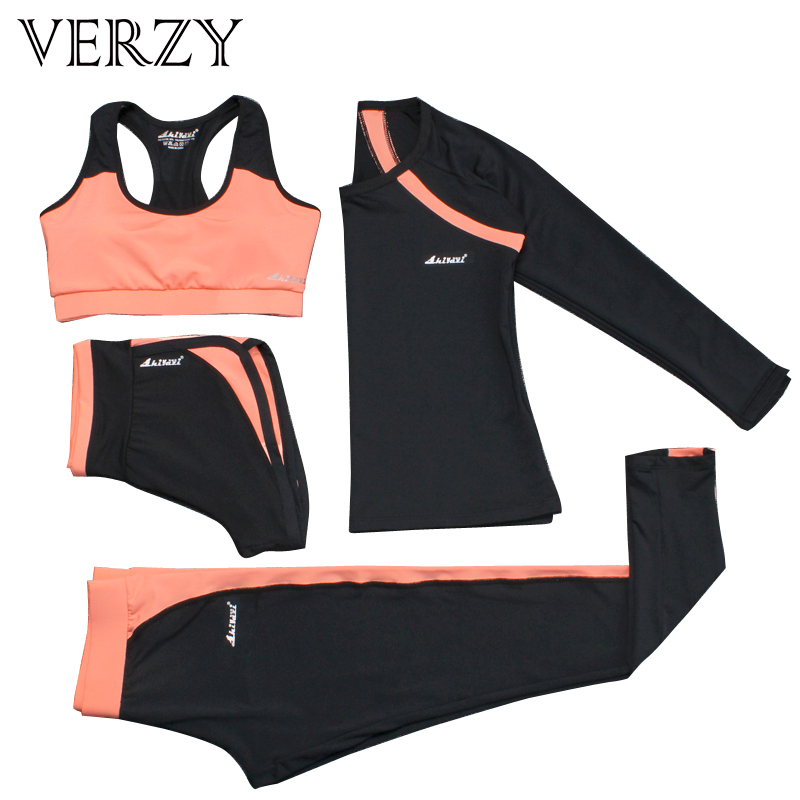 New 4 Pieces Women Yoga Set Apparel Pink Color Sports Bra+Shirt+Pants+Shorts Jogging Fitness Gym Breathable Quick Dry Sportswear недорго, оригинальная цена