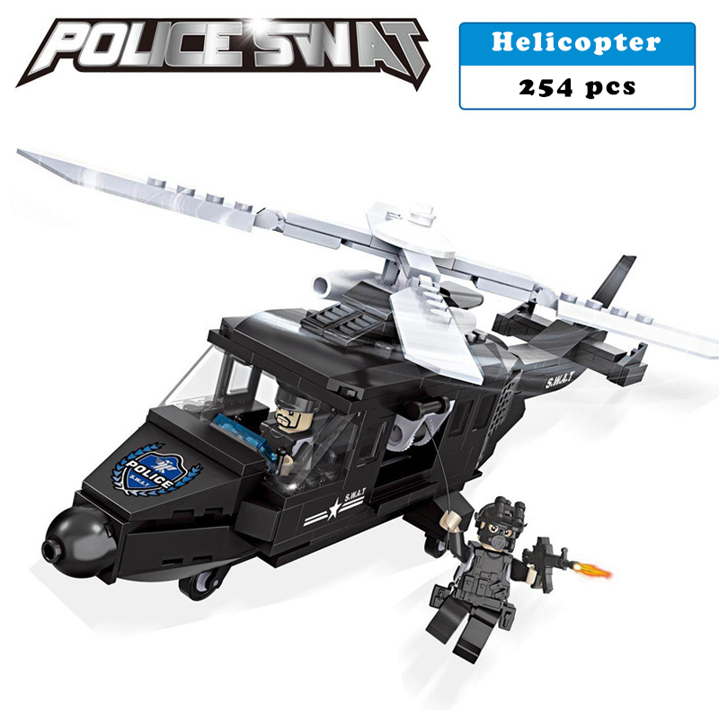 Police station SWAT Helicopter soldiers Military Series 3D Model building blocks compatible with lego city Boy Toy hobbies Gift sluban b2100 city police riot swat helicopter 3d construction plastic model building blocks bricks compatible with lego