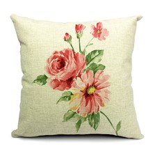 Hot Sale Pillow Covers Elegant Flower Pastoral Pattern New Fashion Style45X45CM Linen Pillow Cover\Home Decorative Linen Cushion(China)