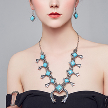 Fine Jewelry Vintage Synthetic Stone Pendant Necklace&Dangle Tibetan Silver Beaded Necklaces Tribal Ethnic Party недорого
