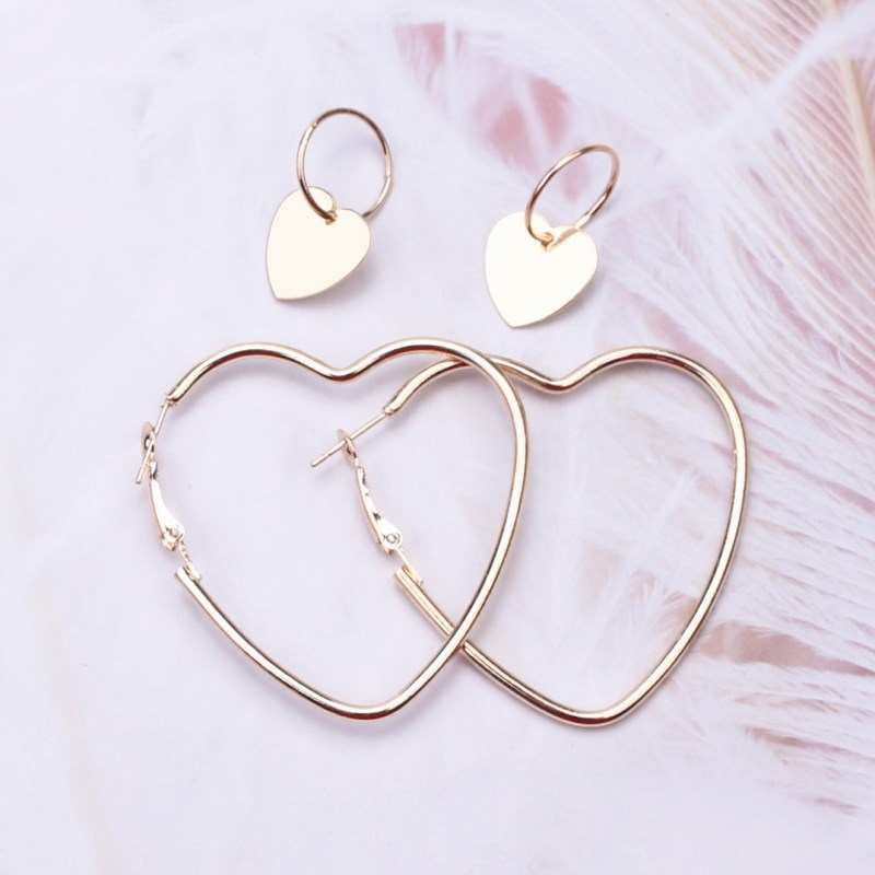 EK118 2Pais Двойное сердце серьги-кольца для женщин Висячие, геометрической формы серьги Женская мода современные ювелирные изделия Oorbellen аксессуары - Окраска металла: Gold