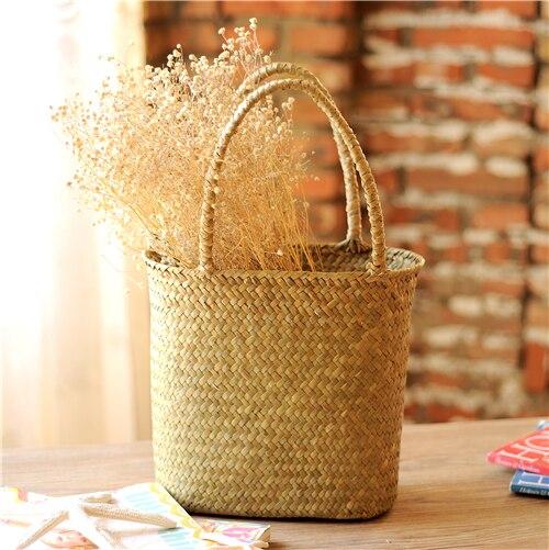 Seaweed flower basket dried flower arrangement flower decoration vintage hand woven rattan handbags debris storage basket decora in Storage Baskets from Home Garden