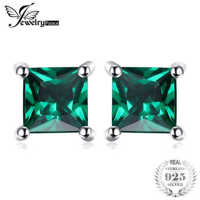 JewelryPalace Square 0.6ct Created Created Emerald 925 Sterling Silver Stud Earr
