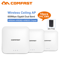 10pcs Comfast 600Mbps Wireless Access Point Router High Power 2.4+5 G Ceiling AP Router 802.11ac Wifi Repeater 48V Wifi Extender