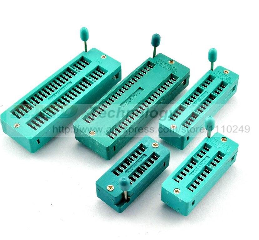 2 PCS/LOT 16 20 28 40 Pin 2.54MM Green DIP Universal ZIF IC Socket Test Solder Type Free Shipping free shipping zn447j gold plated double pin dip ic