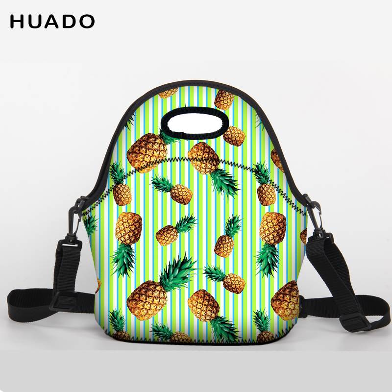 Portable Insulated neoprene lunch Bag fruit pattern Thermal Food Picnic Lunch Bags for Women kids Men animal food fruit picks forks lunch box accessory decor