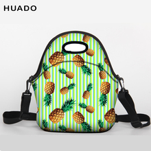 Portable Insulated neoprene lunch Bag fruit pattern Thermal Food Picnic Lunch Bags for Women kids Men