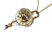 Coupon for wholesale buyer price good quality Chic accessories Steampunk  Skeleton bronze glass ball mechanical pocket watch