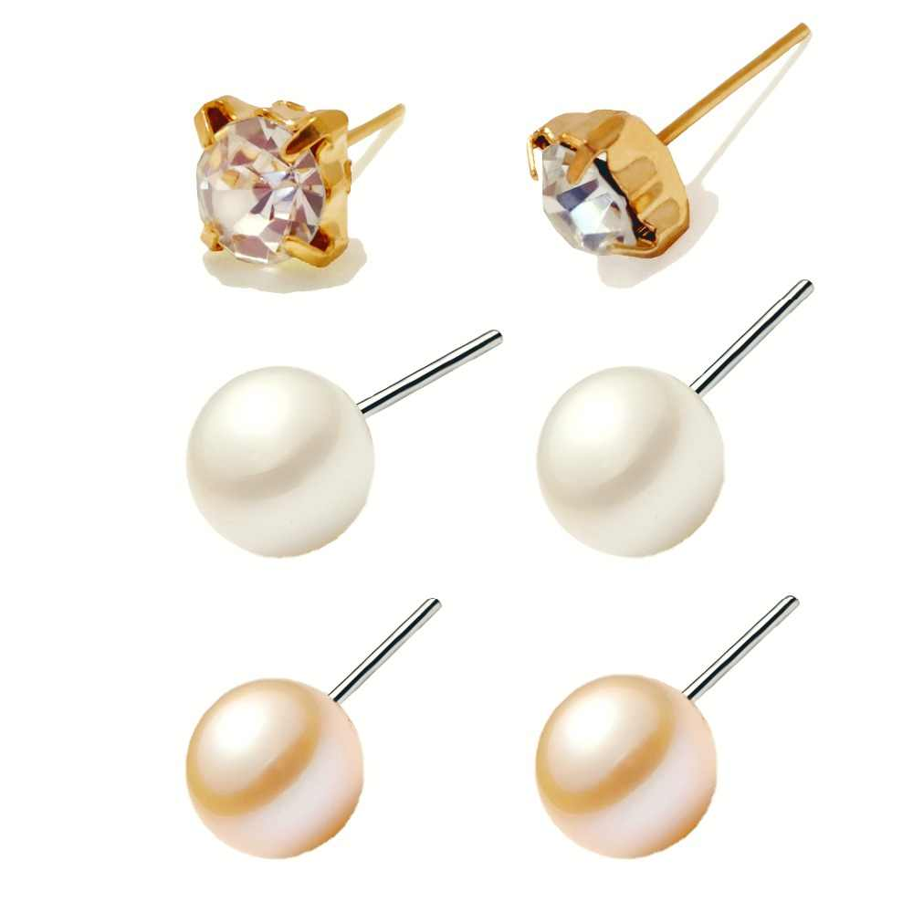 9 Pairs Pearl Sets Earrings Women Fashion Jewelry Girls Card Exaggerated Gift Party Summer Gold Silver Beach Ball Stud Earring