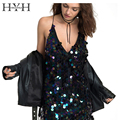 HYH HAOYIHUI Women Sundress Vestidos V-neck Luxury Slip Backless High Waist Mini Dress Sequin Streetwear Sexy Dress Camisole