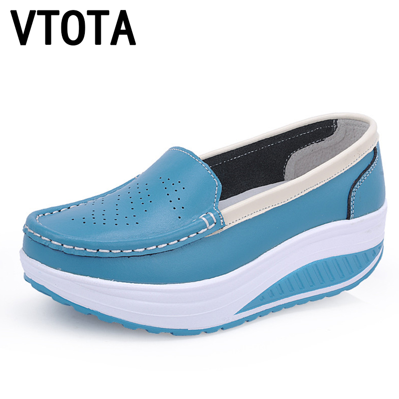 VTOTA Women's Platform Casual Shoes For Women Genuine Leather Woman Swing Wedges Woman Shoes Breathable Walking Cheap Shoes X728 free shipping 2017 summer style women casual shoes women s swing shoes breathable gauze platform shoes single elevator shoes