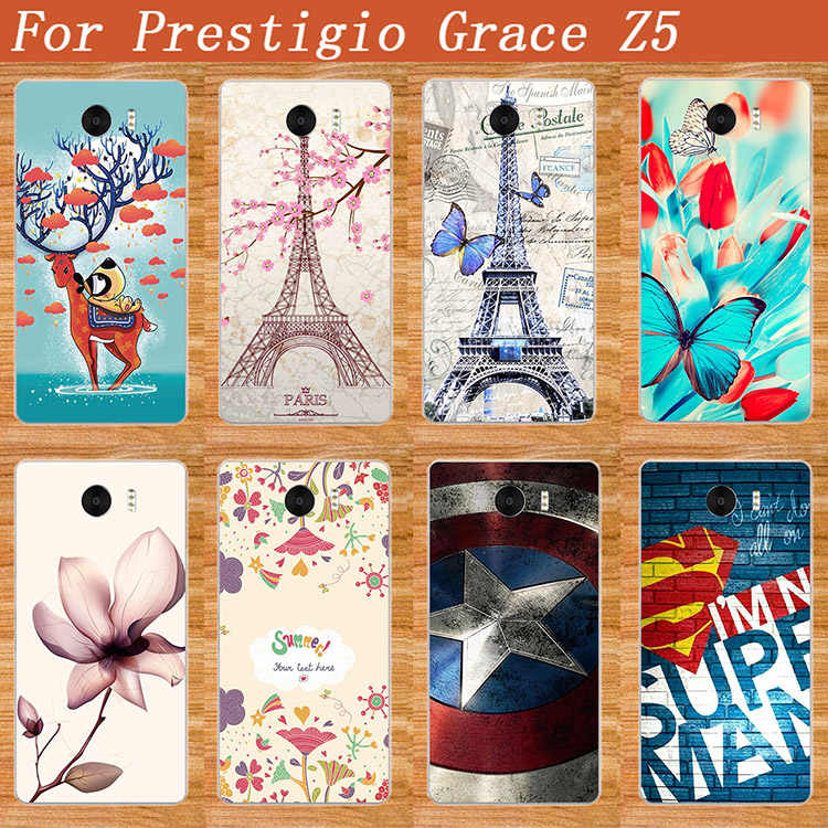 "2017 New Arrival 8 Patterns Painting Colored Case Cover For Prestigio Grace Z5 PSP5530 DUO 5530 Duo 5.3"" Cases Phone Sheer Bags"