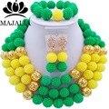 Moda africana joyería conjunto verde y amarillo De Plástico Majalia-220 de Nigeria beads africanos Boda joyería conjunto Envío gratis