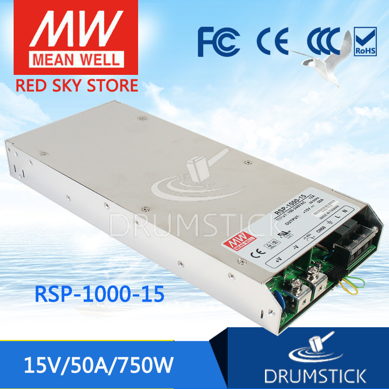 Hot sale MEAN WELL RSP-1000-15 15V 50A meanwell RSP-1000 15V 750W Single Output Power Supply selling hot mean well rsp 1500 5 5v 240a meanwell rsp 1500 5v 1200w single output power supply